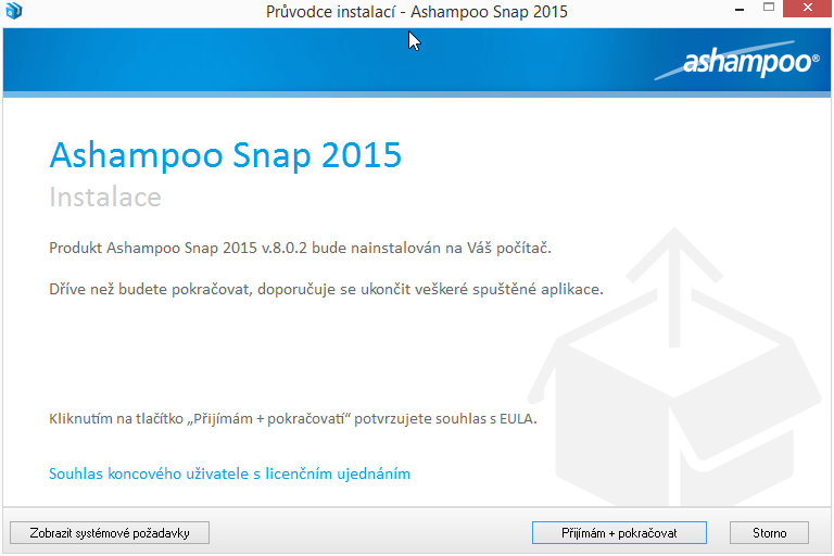 Ashampoo Snap 2015 a první volby instalace