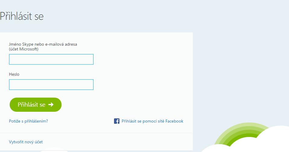Skype for Web: přihlášení do webového rozhraní