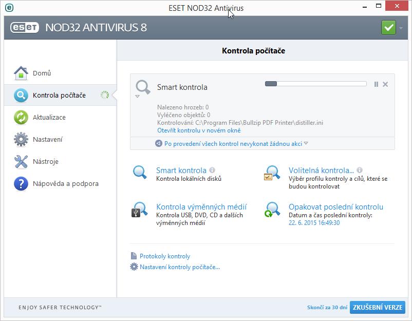 ESET NOD32 Antivirus 8: Smart kontrola není tak rychlá, jak by název mohl naznačovat