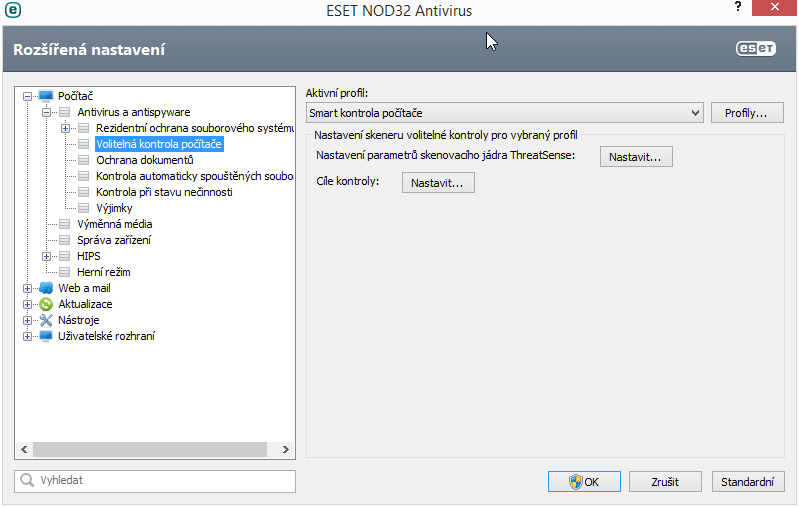 ESET NOD32 Antivirus 8: nastavení kontrol umožňuje naprofilovat si analýzu na míru