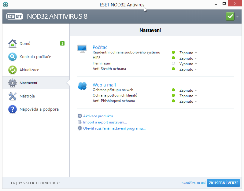 ESET NOD32 Antivirus 8 lze konfigurovat buď velmi prostě nebo velmi podrobně