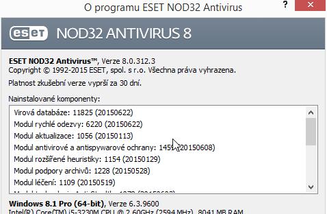 ESET NOD32 Antivirus 8: podrobné informace o aktualizaci jednotlivých modulů a jejich databází
