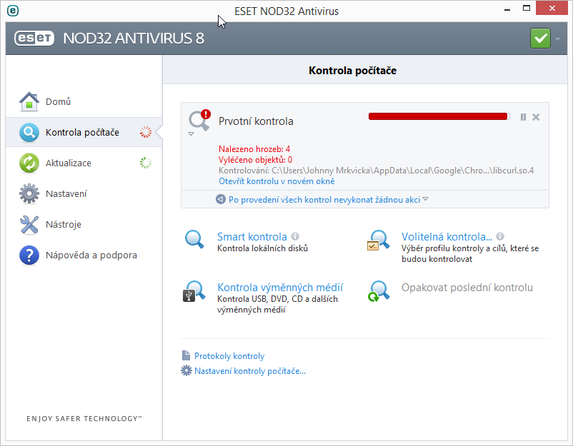ESET NOD32 Antivirus 8: kontrola se spouští již při instalaci - a rovnou hledá potenciální nebezpečí v systému