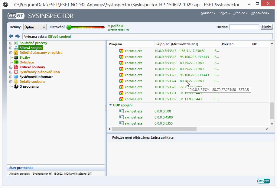 ESET NOD32 Antivirus 8: SysInspector nabízí velmi detailní analýzu celého systému
