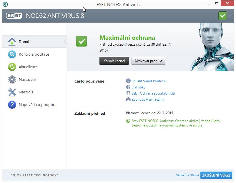 ESET NOD32 Antivirus 8: už výchozí obrazovka prozradí, že ovládání nebude problém