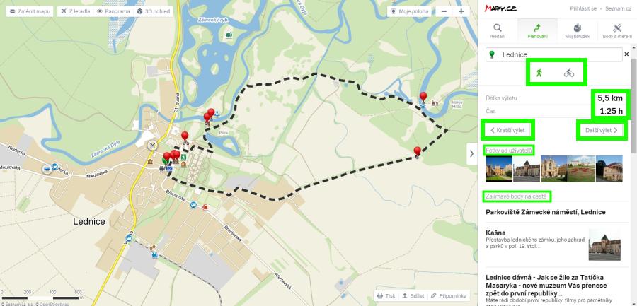 Nový plánovač výletů zobrazí několik variant výletů + veškeré kontextové informace