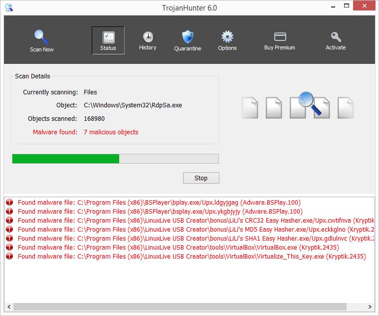 TrojanHunter hledá a identifikuje trojany - nachází adware v BSPlayeru