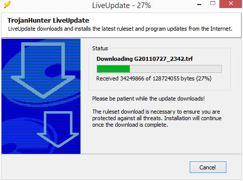TrojanHunter si dotahá nějakých 122 MB aktualizací databáze ochranných definic a aktualizací programu