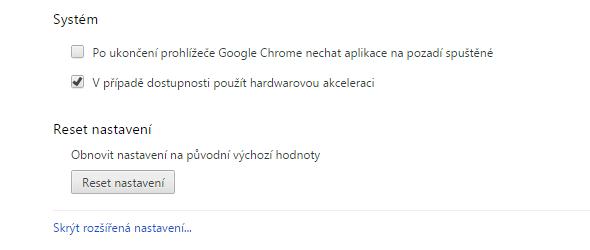 Reset nastavení najdeme až zcela dole v Rozšířených nastaveních Chrome