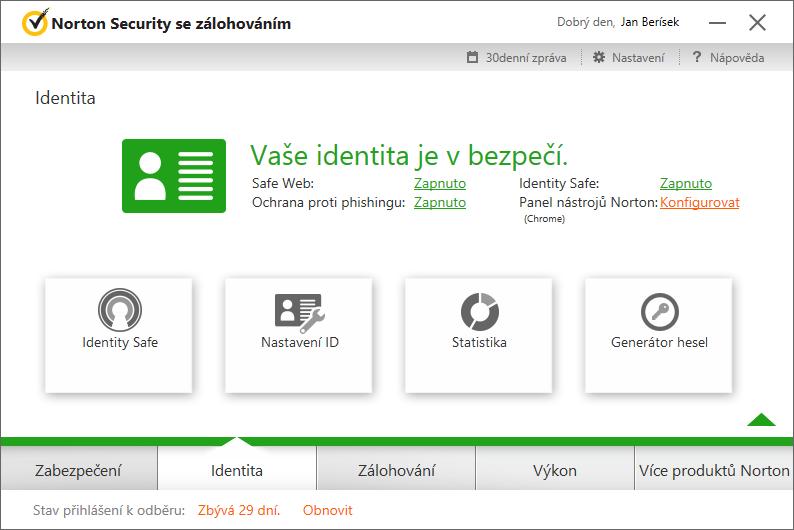 Norton Security Identita - několik položek správy webové klíčenky
