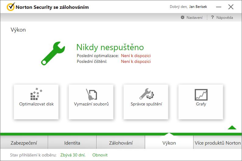 Norton Security Výkon: špatně označené a banální optimalizační funkce