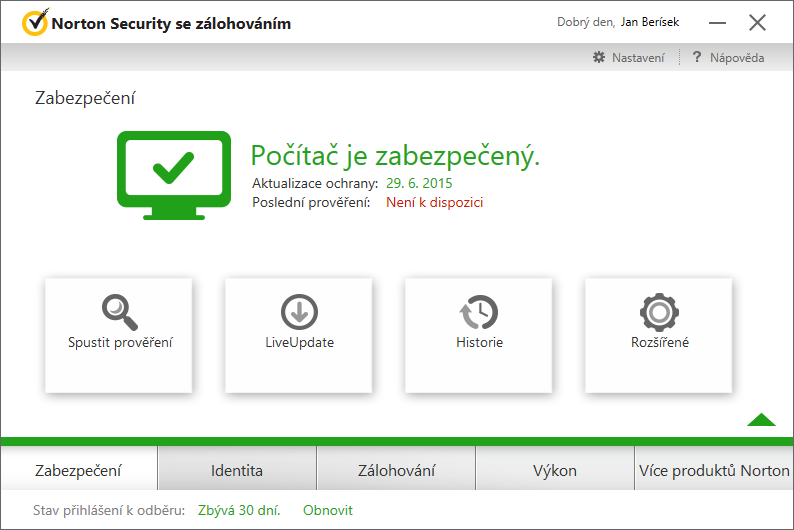 Norton Security - Zabezpečení: různé volby aktivního skenu