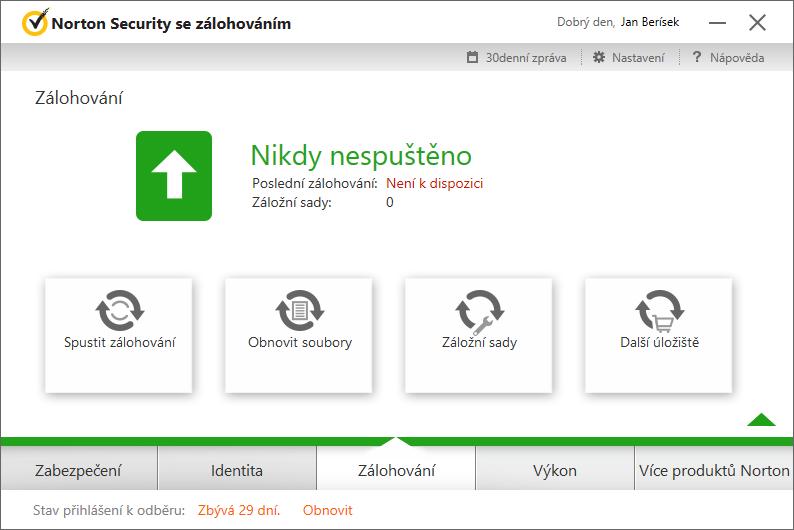 Norton Security Zálohování - na lokální disky či cloudové úložiště