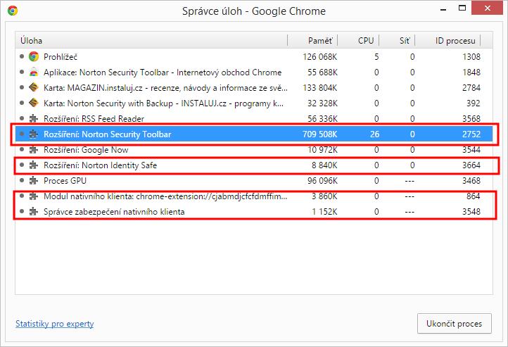 Neuvěřitelná a ničím nepoměřitelná spotřeba systémových prostředků Norton Security Toolbar