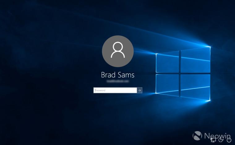 Přihlašovací obrazovka s novou výchozí tapetou Windows 10 (Zdroj: Neowin.net)