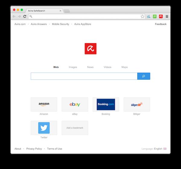Avira Browser: typický design Chromia na platformě OS X