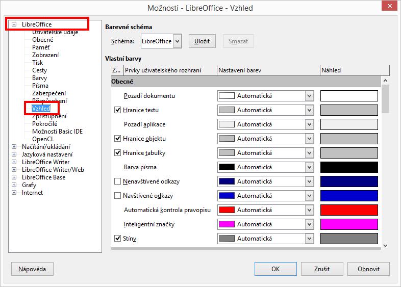 LibreOffice: možnosti vzhledu - úpravy pozadí dokumentu