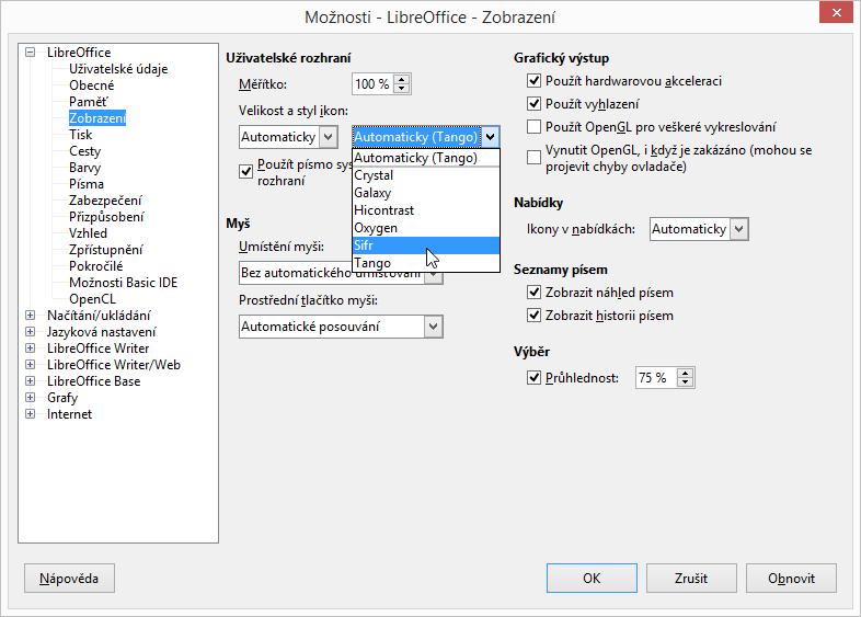 LibreOffice: Možnosti Zobrazení ikon ovládacích prvků