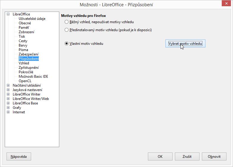 LibreOffice: nastavení Vlastního motivu vzhledu