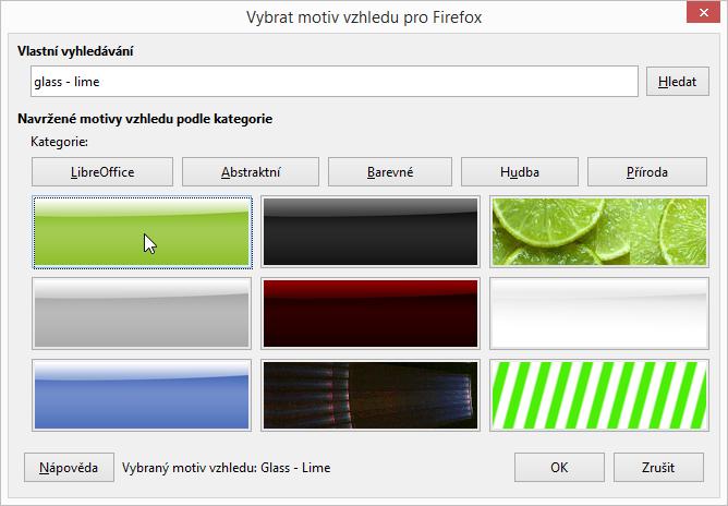 LibreOffice: vlastní vyhledání motivu vzhledu - konkrétně Glass - Lime
