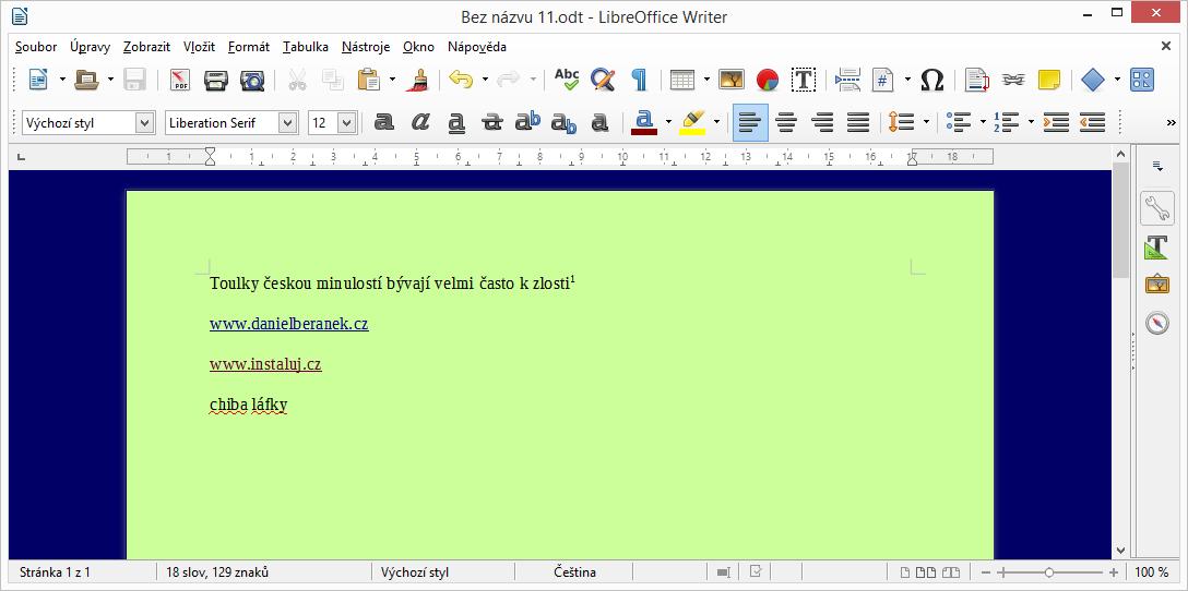 LibreOffice: upravené prostředí dokumentu