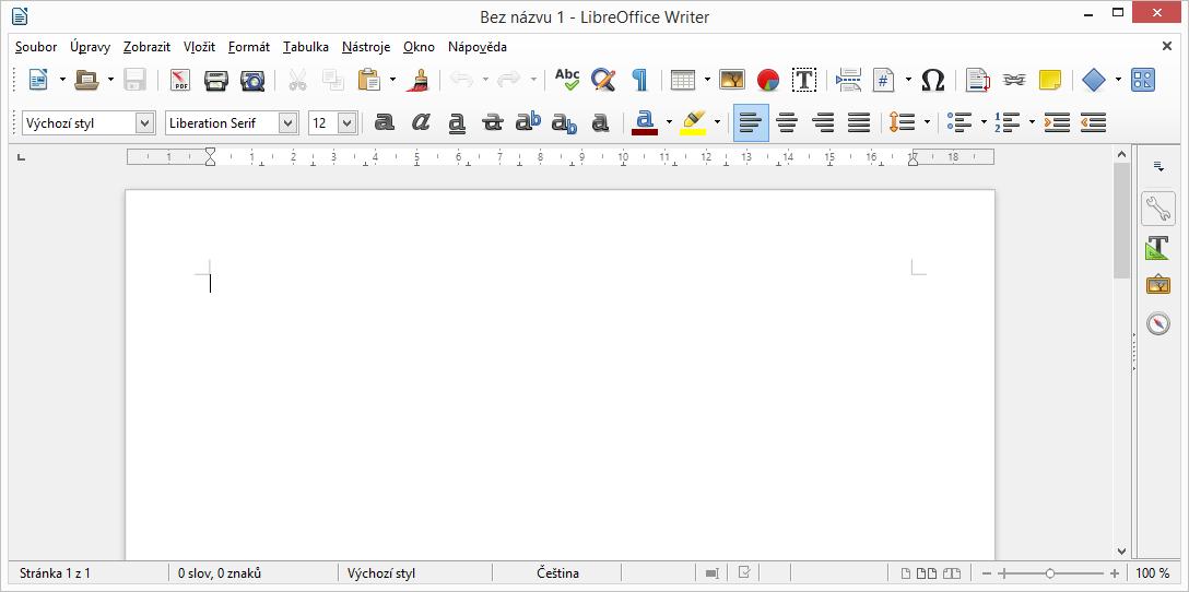 LibreOffice: výchozí obrazovka Writeru