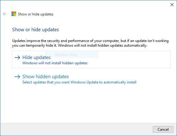 Nástroj na schování a nepřijmutí nových aktualizací Windows 10 (Zdroj: Neowin.net)