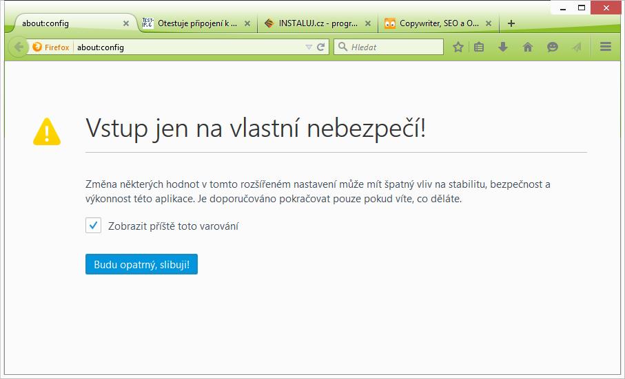 Firefox: změny rozšířených nastavení se provádí na příkaz about:config