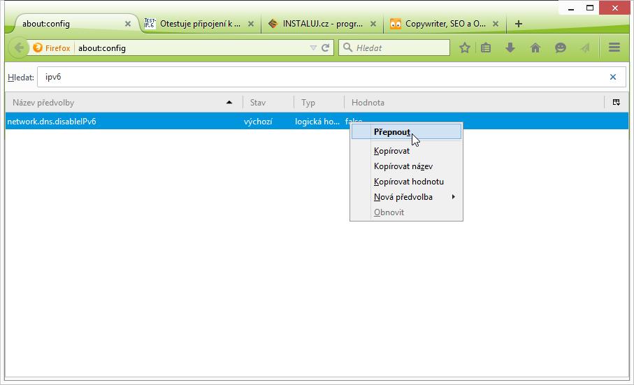Pomocí IPV6 najdeme řetězec NETWORK.DNS.DISABLEIPV6
