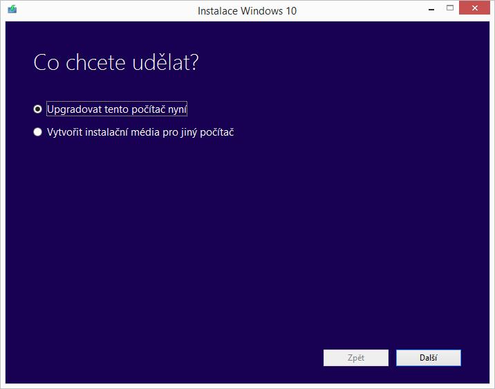 Instalace Windows 10: upgrade nebo vytvoření instalačního média