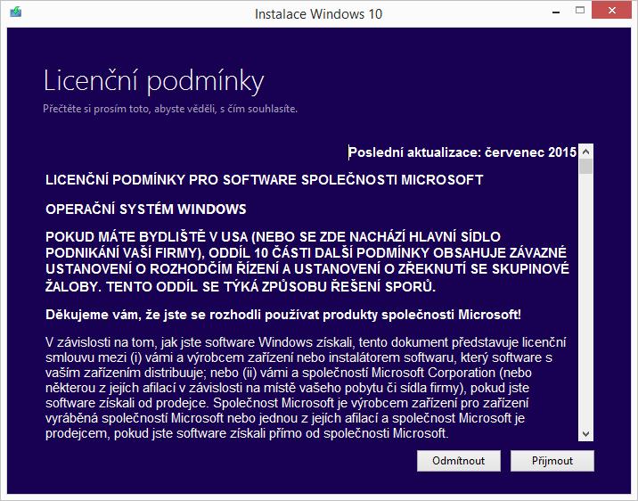 Licenční podmínky Windows 10
