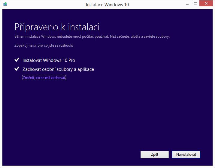 Volby instalace a zachování dat ve Windows