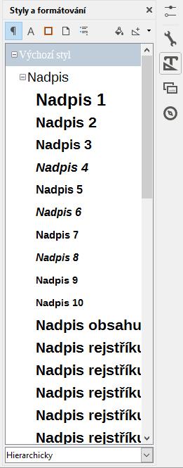 LibreOffice 5: náhledy stylů v postranním panelu