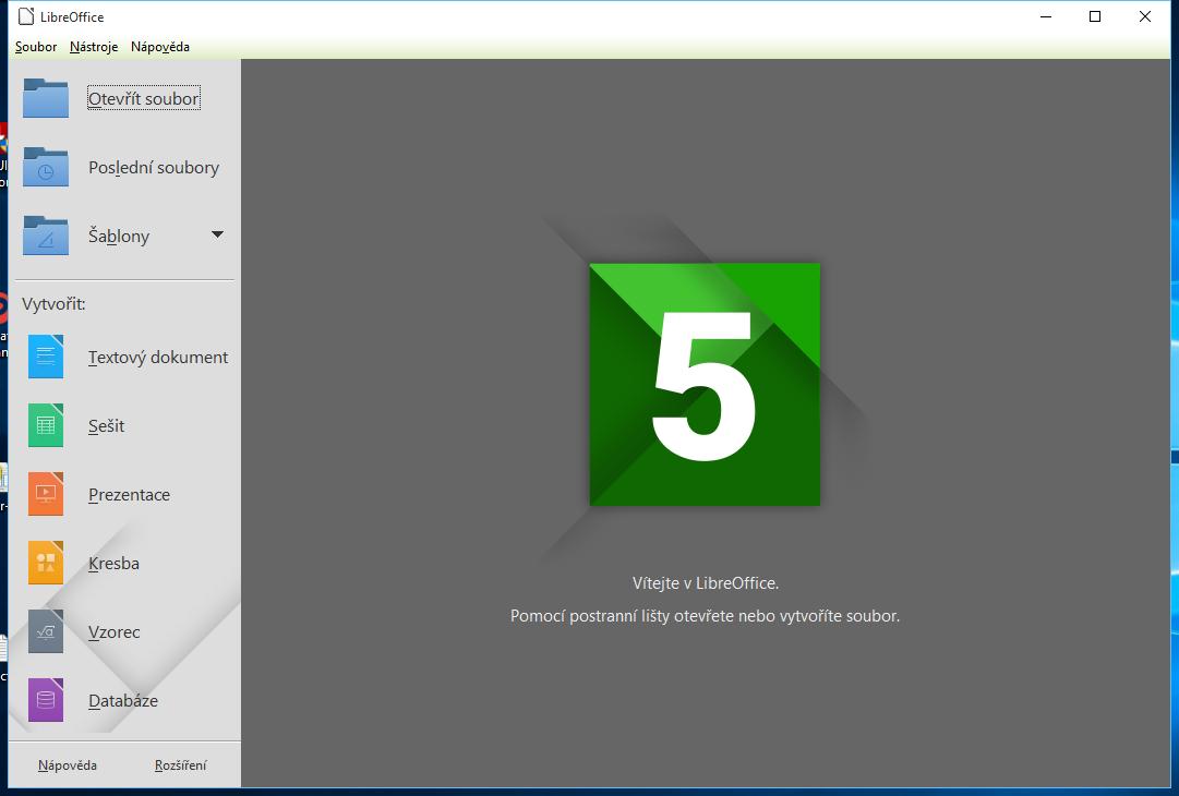 LibreOffice 5: výchozí obrazovka aplikace