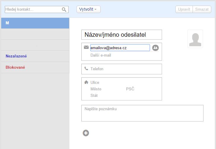 Uložíme e-mailovou adresu odesilatele mezi své Kontakty