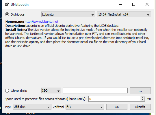 UNetbootin: stačí vybrat distribuci a  konkrétní verzi linuxového systému