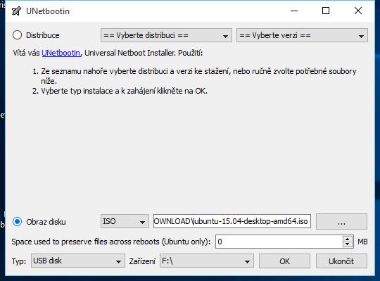UNetbootin: instalace z předpřipraveného ISO obrazu