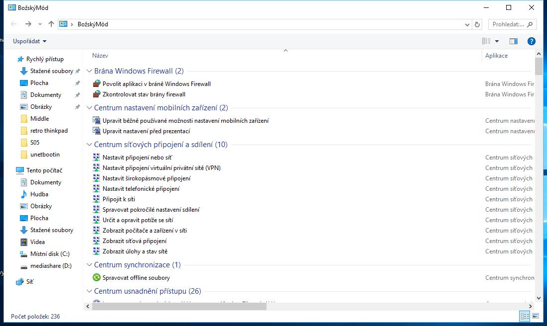 Božský mód Windows 10: přes 200 různých nastavení