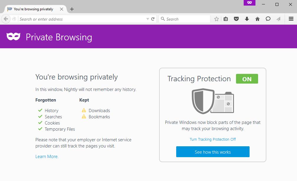 Ochrana proti sledování je defaultně aktivní v nočních sestaveních a verzích pro vývojáře