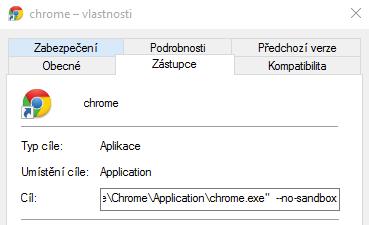 Přidáme příkaz --no-sandbox za cestu k Chrome