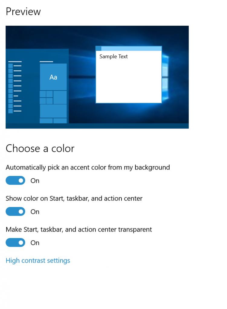 Windows 10 b. 10525: Automatické přizpůsobení barvy systémových prvků pozadí