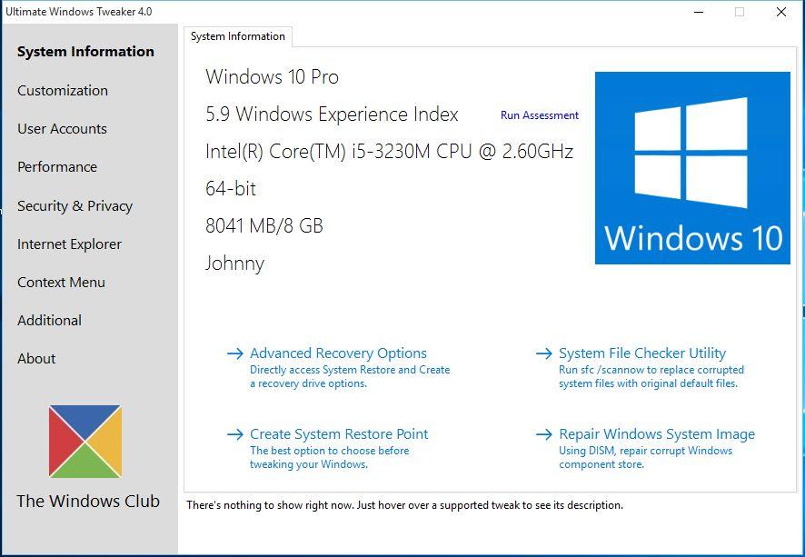 Ultimate Windows Tweaker 4: velmi přehledné rozhraní je to první, co zaujme