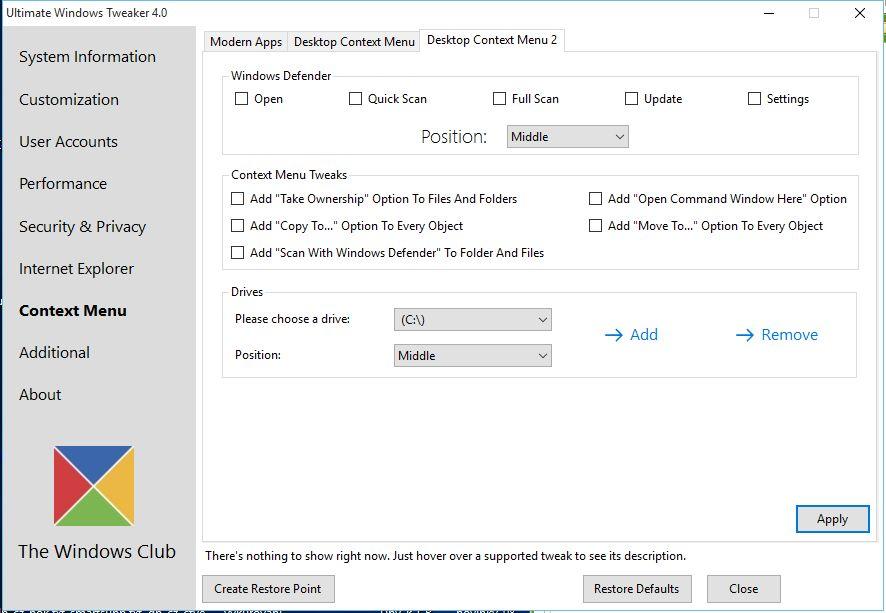 Ultimate Windows Tweaker 4: přidání rozličných položek do kontextových menu
