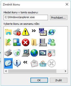 ...v okně Změnit ikonu si vybereme požadovanou podobu z defaultně dostupných ikon, případně z vlastní sady ikon, potvrdíme