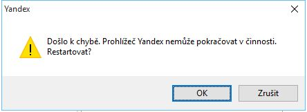 Pád jádra Chromium/Blink v podání Yandex Browseru