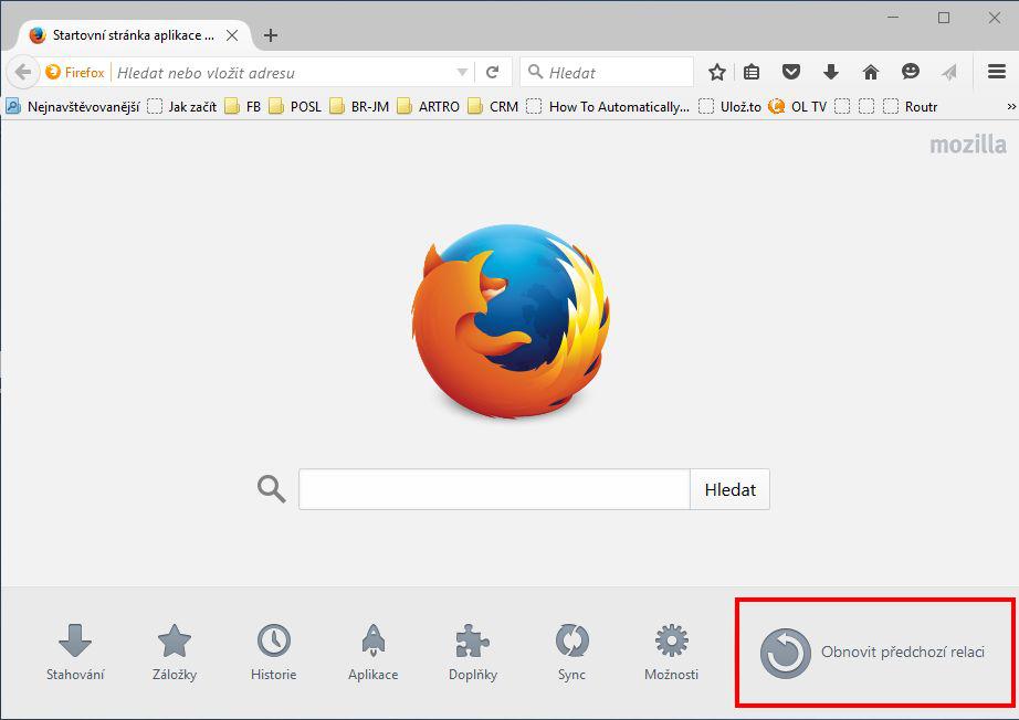 Firefox 41: domovská strana nabízí rychlé obnovení předchozí relace
