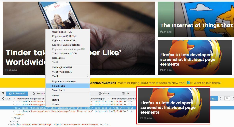Firefox 41 - Průzkumník DOM a stylů - sejmutí konkrétního prvku stránky (snímek vpravo dole)