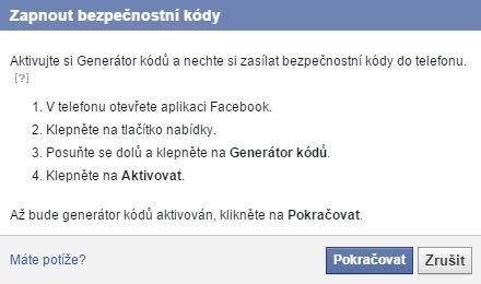 V mobilní aplikaci Facebook je třeba aktivovat Generátor kódů...