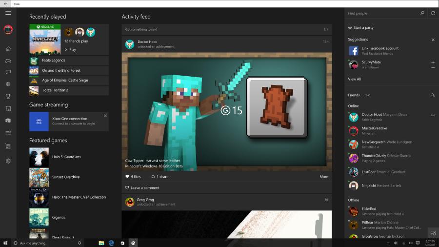 Beta verze Xboxu pro Windows 10 je nyní připravena i pro facebookové přátele
