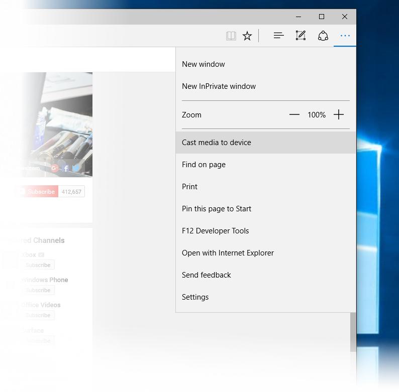 Funkce Media Casting v prohlížeči Microsoft Edge